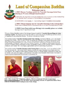 Land of Compassion Buddha Edmonton Tibetan Buddhist centre free Dharma classes Eight verses of thought transformation