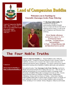 Land of Compassion Buddha Edmonton English Poster Four Noble Truths 08212015